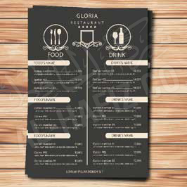 Hotel Menu Card - A4 Laminated