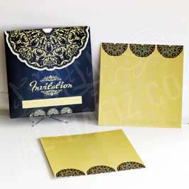 Fancy Blue Invitation Card with Golden Envelop