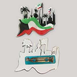Acrylic Badge with Metal Pin - Kuwait Skyline