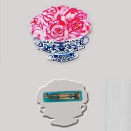 Acrylic Badge with Metal Pin - Flowers