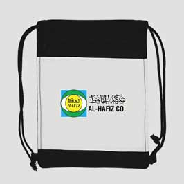 Drawstring Backpack (Black Polyester)