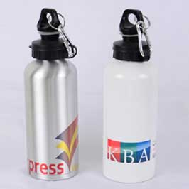 Full Color Printed Water Bottles - White/Silver