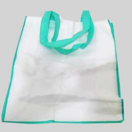 Woven Bag - White Green Outline