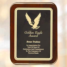 Acrylic Shield Wooden Gold Eagle