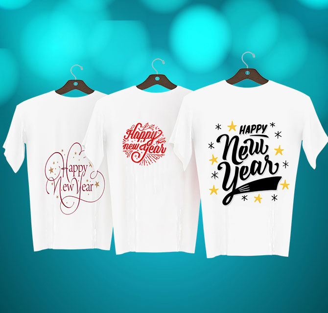 New Year White Couple T-shirts
